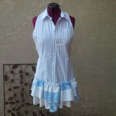 Upcycled Men's shirt + Women's long skirt and you have an Apron by Funky Charm