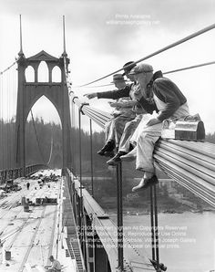 Construction Workers Lunchtime 1931 St Johns Bridge N. Portland OR -historic bw photo by Ray Atkeson