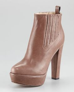 X1BN6 Prada Leather Platform Ankle Bootie