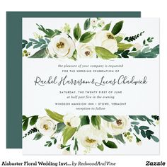 Alabaster Floral Wedding Invitation | Square Our Alabaster wedding invitation in a unique square format frames your wedding details with a top and bottom border of painted watercolor greenery, botanical foliage and white rose and peony flowers.