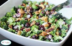 Broccoli Salad: Ingredients: 4 heads fresh broccoli 1/2 red onion 1/2 pound bacon 1 cup craisins 1 cup cashews 1 cup mayonnaise 1/4 cup white sugar 2 tablespoons white wine vinegar