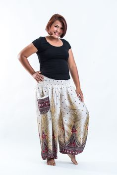 f37b8a09ada Plus Size Peacock Feathers Women s Harem Pants in White