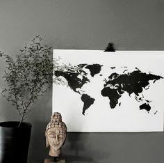 Världskarta i svartvitt