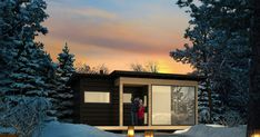 The starry night, northern lights and frost - they are the ingredients of the Saaga sauna experience. Log Cabin Rentals, Log Cabins, Cabin Kits, Prefab, Open Up, Log Homes, Scandinavian Style, Custom Homes, Frost