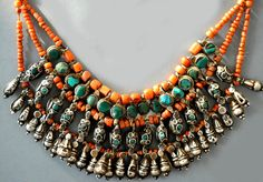 Collar of coral, set turquoise and silver worn in Ladakh, Northern India. This one is original stringing on Yak hair collected in the field. late 19th/ early 20th c (private collection Linda Pastorino)