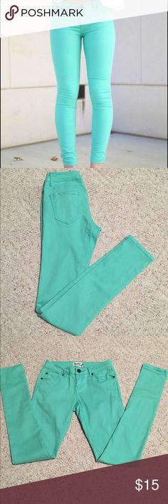 Seafoam Green Jeans Worn a couple of times, I just don't fit anymore. In great condition. Size 25. Purchased from shophopes. Brand is Scarlet Boulevard. Scarlet Boulevard Jeans Skinny