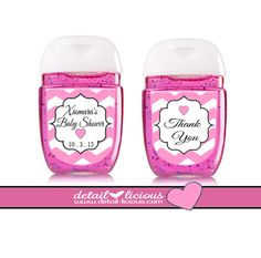 Pink and white Chevron mini hand sanitizer favors scream GOTTA HAVE ONE NOW! Perfect to share on Valentine's day, any teen event, bridal showers, weddings, Sweet 16, Baby showers or any preppy event! A great way to say thank you for sharing your special day! Can be changed to your wants with our party sprinkle options too! Print Options are also available!  BBW mini hand sanitizers. 1 FL oz. Adorable & Affordable!