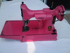 Vintage Singer Featherweight 221 Sewing Machine Custom Pink with Black Decals   eBay