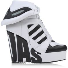 ideas for sneakers adidas high tops White Wedge Sneakers, High Heel Sneakers, Sneaker Heels, Adidas Sneakers, Wedge Shoes, Trendy Shoes, Cute Shoes, Fashion Boots, Sneakers Fashion