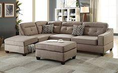 Living Room 3pcs Sectional w Ottoman Bobkona Reversible Chaise w Storage Sofa w Pillows Tufted Mocha Dorris Fabric Modern