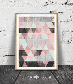 Geometric Print, Printable Wall Art, Pink Black and Mint Green Decor, Instant Download, Triangles, Modern Mid Century Scandinavian Art Print