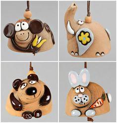 Small Ceramic Bells: Monkey Rabbit Elephant Bear. by Molinukas