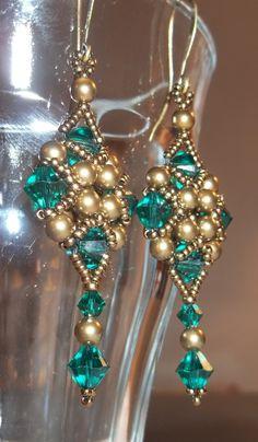 Swarovski Art Deco Style Earrings in Emerald Green by BeBoDesigns, $18.00