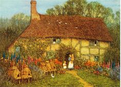 Postcrossing US-2301903 - Water Color painting by Helen Allingham.  Card sent to Postcrosser in Germany.
