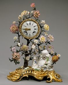 Mantel clock. Clockmaker: Julien Le Roy (1686–1759, master clockmaker 1713–59). Culture: French (Paris) with French (Chantilly) case. Medium: Soft-paste porcelain, gilt-bronze, hard and soft-paste porcelain flowers.