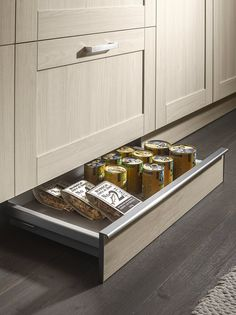 Hidden drawer in the plinth from Nolte...  Think we might be keeping the chocolate stash in there from now on!  ...What will you hide in yours?  #nolte #hiddendrawer #plinth #kitchen #design #kitchens #york