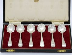 Currently at the #Catawiki auctions: Solid Silver Tableware Set of Six Spoons, Made in London, 1902, Made By Georg...
