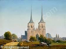 Anton Eduard Kieldrup (1827-1869): Sommerdag ved Roskilde Domkirke, 1848