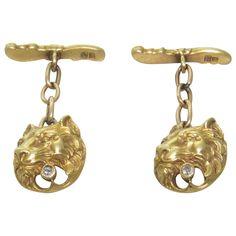 Art Nouveau Diamond Gold Lion Head Cufflinks