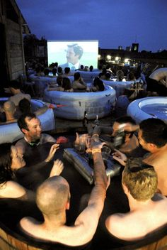 party idea - Host a hot tub cinema party and watch the Football game or movie from your hot tub. This is bad ass idea! Guerilla Marketing, Event Marketing, Cinema Party, Cinema Experience, Rooftop Party, Backyard Movie Nights, Things To Do In London, One Pic, Movies