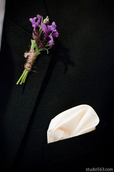 fresh lavender and twine boutonniere