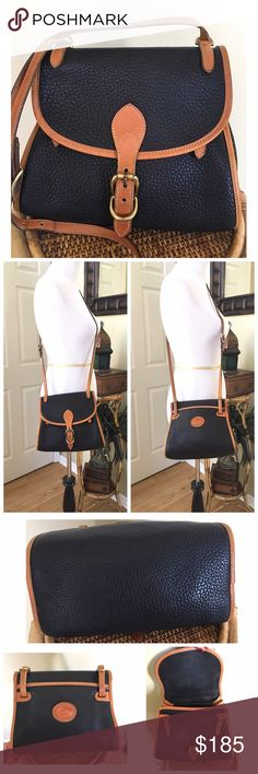 """VINTAGE DOONEY AND BOURKE BICYCLE BAG R46 Vintage Dooney and Bourke Bicycle Bag in Black and British Tan Trim, in great condition. There is some light rubbing to the piping. Minor wear on the leather duck patch. One small wear spot on the AWL (SEE 7th photo) Interior is clean with a few spots on the interior flap. ALL MEASUREMENTS ARE APPROXIMATE:  9.5"""" L X 7.5"""" H X 5.0"""" W Adjustable Drop strap 20.0"""".  Can be worn as a crossbody or on the shoulder.  (SEE ALL PICTURES) NO TRADES Dooney…"""