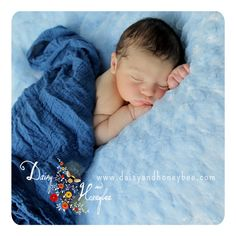 Baby boy in blue portrait wrapped in one of our new cobalt blue wraps. Vibrant color with ever so soft touch.