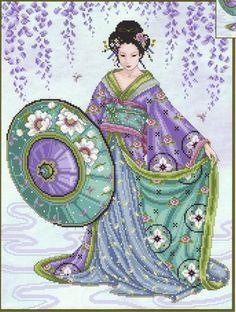 Blue Geisha - Cross Stitch Pattern by Joan Elliott using Kreinik threads