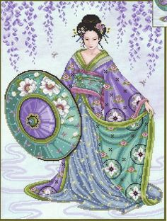 Blue Geisha - Cross Stitch Pattern by Joan Elliott using Kreinik threads
