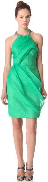 Lela Rose Green Draped Dress with Chain Fringe