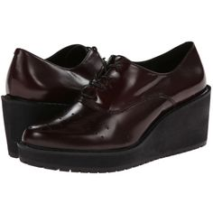 $130.00 Clarks Game Oval (Burgundy Leather) Women's Wedge Shoes