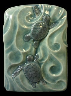 A gift for siblings or best friends. Tile Wall art ceramic tile animal art Sea by MedicineBluffStudio