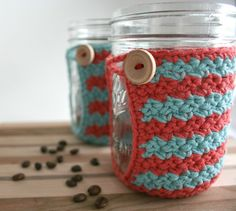 Crochet Mason Jar Cozy - Coffee Cup Cozy - Set of 2 Red & Blue Cozies - Coozie via Etsy