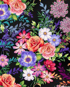 Botanical Blooms - Summer's Bouquet - Black