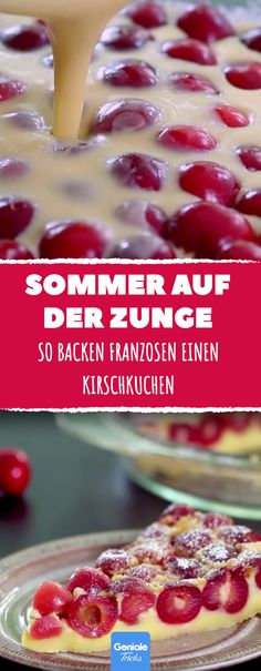 So backen Franzosen einen Kirschkuchen. Danach wirst du es nie mehr anders mache… That's how French people bake a cherry cake. After that you will never do it again. Healthy Dessert Recipes, Cake Recipes, Snack Recipes, Cooking Recipes, Snacks, Pastry Recipes, Dessert Oreo, German Baking, Cherry Cake