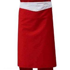 Falda Cuoco Rossa Natale, realizzata in gabardine rosso indanthren, con balza bianca e doppio profilo rosso/bianco.