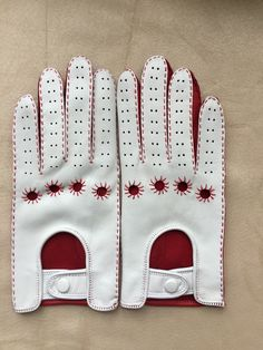 Excited to share the latest addition to my #etsy shop: Glamour leather driving gloves for ladies/girls/women/gift for her/accessories/wedding gift / lambskin leather/Red and white/ Italian Nappa #accessories #gloves #wedding #mothersday #thanksgiving #gloveswomen #drivinggloves #christmasgift #whiteandred