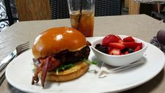 Burger and fruit at Granville Burbank
