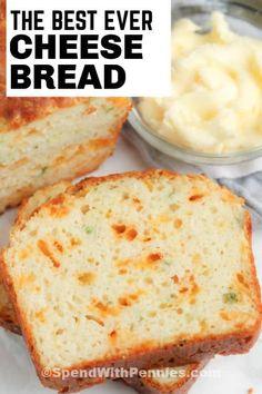 Cheesy Bread Recipe, Bread Recipes, Cooking Recipes, Veggie Recipes, Homemade Garlic Bread, Homemade Cheese, Homemade Cornbread, Beer Bread, Bread Bun