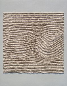 Stitched art?  No-- check website. This is made from ribbons of paint, woven to resemble cloth!