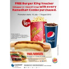 Cathay Cineplex Free Burger King Voucher with Ramadhan Combo Purchased