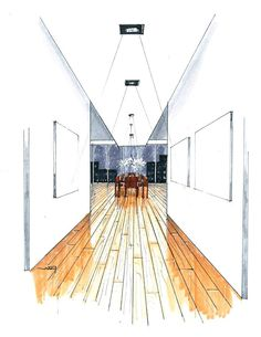 hallway perspective sketch showing timber flooring and white walls Interior Design Renderings, Drawing Interior, Interior Rendering, Interior Sketch, Croquis Architecture, Architecture Sketchbook, Art And Architecture, Arte Van Gogh, Perspective Sketch