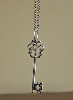 Skeleton Key and Charm on Chain Necklace