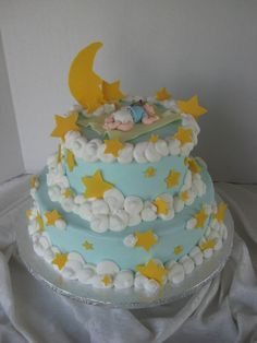 Moon and Stars PJ party cake for Cora? Change the blue to pink, light yellow or purple stars, no baby on top.
