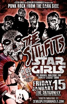NEXT FRIDAY!!! Punk Rock from the Dark Side!!! Star Girls and DevilsPlaygroundLA presents the Return of Intergalactic Horror Business, The Sithfits performing with Star Girls Burlesque! Friday January 15th at the Dragonfly in Hollywood, CA. Advance ticket sales at: devilsplaygroundLA.com #Sithfits #SithfitsTheBand #TheSithfits #SithfitsFiendClub #IntergalacticHorrorBusiness #PunkRock #DarkSide #StarGirls #Burlesque #StripTease #CourtneyCuz #JimmyPsycho #mancinasART #MillenniumFiendSkull