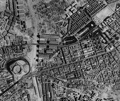 Vista aérea del barrio cuando aun no se había construido ni la M-30 ni el polideportivo de la Concepción.