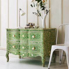 Green & Bone Inlay Curved 2 Drawer Chest - eclectic - dressers chests and bedroom armoires - Graham and Green. wish I can find something similar, but for a lot less. Love this piece. Furniture Makeover, Diy Furniture, Green Furniture, Repurposed Furniture, Bedroom Furniture, Diy Dressers, Deco Boheme, Hand Painted Furniture, Refurbished Furniture