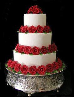 Red & White Wedding Cake