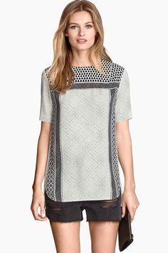 Blusa de mangas curtas   H&M