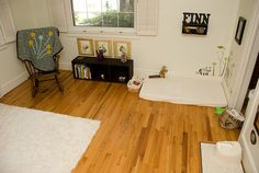 montessori baby room for crawling infant - changing area by sew liberated, via Flickr
